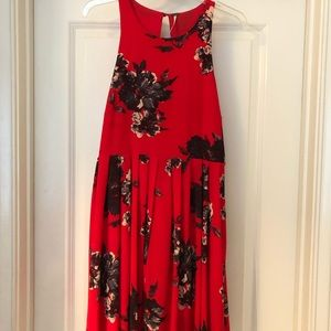 Free People Red Floral Dress Size 6